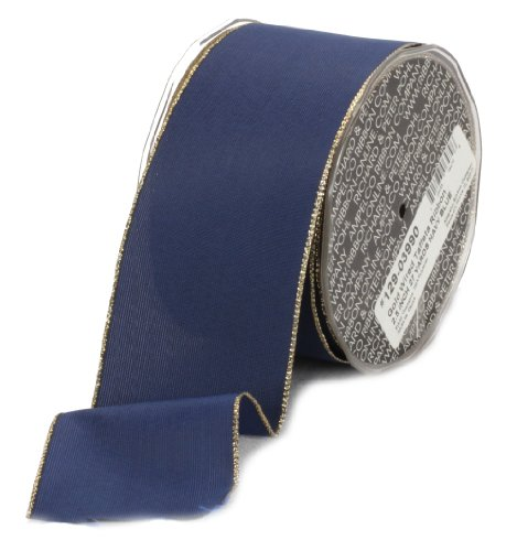 Ampelco Ribbon Company Gold Wired 27-Yard Taffeta Ribbon, 2.5-Inch, Navy Blue