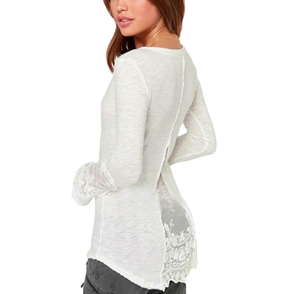 6d53d95d72 Hibote Elegant Ladies Tops Blouses Tunic - Fashion Women Long Sleeve Blouse  with V-Neck Casual Shirt T-Shirt Tops Black White M-4XL  Amazon.co.uk   Clothing