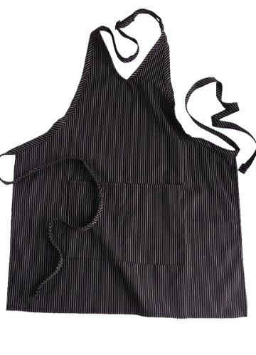 Edwards Garment V-Neck Patch Pocket Bib Apron, Steel Grey, One Size
