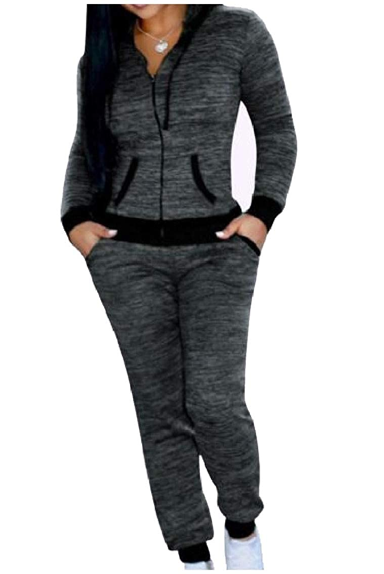Coolhere Women's Jersey Hood Long-Sleeve Evening Club 2 Pieces Tracksuits Outfit
