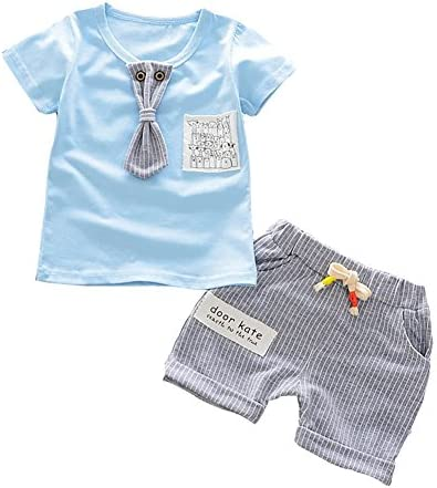 Weixinbuy Baby Boy Girl Tie Decor Short Sleeve T Shirt Top Stripe Shorts Clothes Set Amazon Com Au Fashion