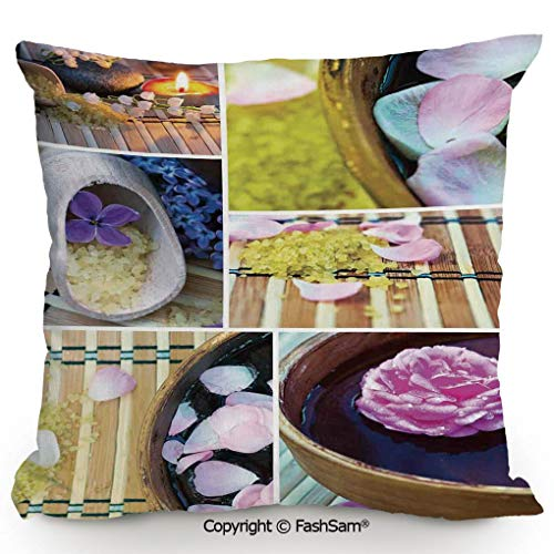 FashSam Throw Pillow Covers Spa Organic Cosmetics Theme Wooden Bowl Petals Lavender Candle Pebbles Therapy Oil for Couch Sofa Home Decor(20