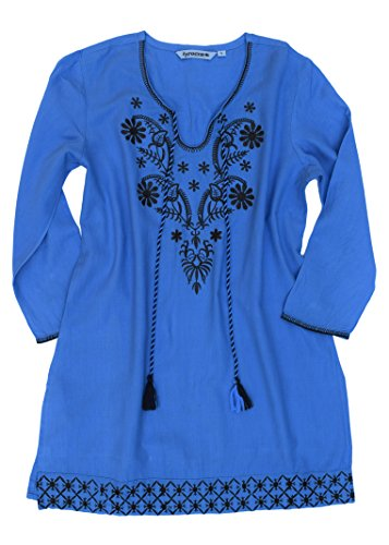 Ayurvastram Ayo Pure Cotton, Embroidered Tunic, Top, Kurti, With Tassles, Greyish Blue With Taupe Emb, M Body Chest 36.5 inches -