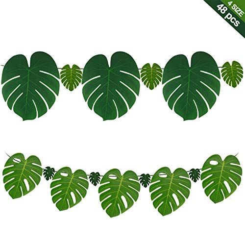 Jungle Prom Theme (COONOE 48pcs Tropical Imitation Green Plant Paper Leaves Hawaiian Luau Party Jungle Beach Theme Decorations for Birthdays, Arts & Crafts, Prom, Events, Weddings, Table Centerpieces, Wall)