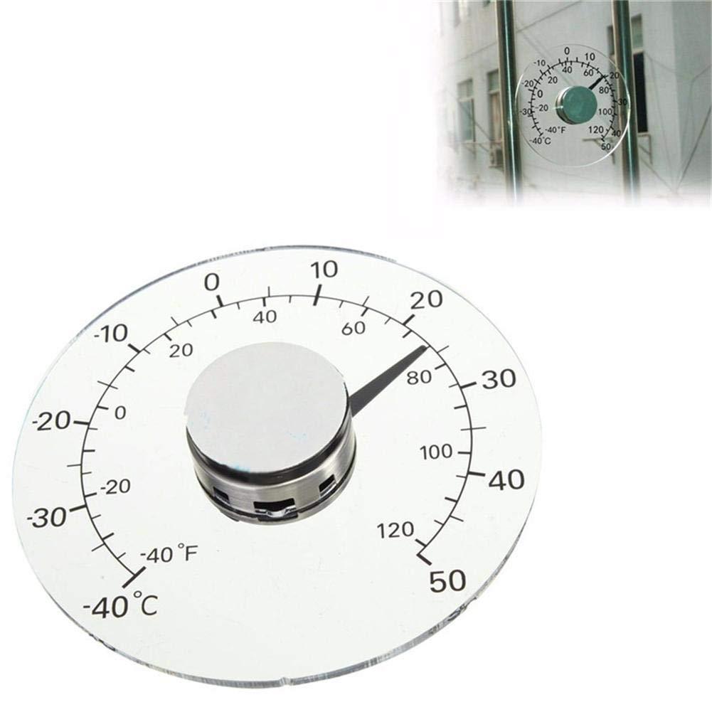 finestra rotonda trasparente Termometro autoadesivo senza batteria autoadesivo per porta e finestra Termometro esterno gradi Fahrenheit//Celsius