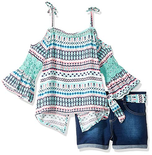 Belted Jean Shorts - Limited Too Girls' Toddler 2 Piece Fashion Top and Belted Short Set, Bell Sleeve Dark Blue Denim 2T