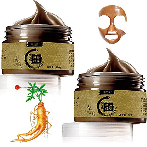 2 PCS Deep Cleansing Transitional Herbal Beauty Ginseng Charcoal Black Head Removal Peel Off Masker 120g