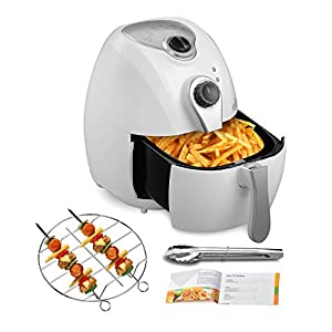 4.4QT Oilless Air Fryer-KUPPET 8-in-1 YA200 White Hot/Deep Fryer with Basket-Timer Temperature Dual Control-6 Cooking Presets-Included Recipe, BBQ Rack, Anti-hot Clip-1300W
