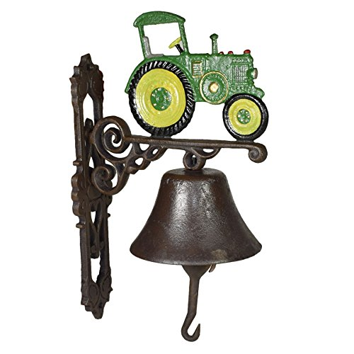 AB Tools Green Tractor Farm Bell Cast Iron Sign Plaque Door Wall Fence Gate Post House