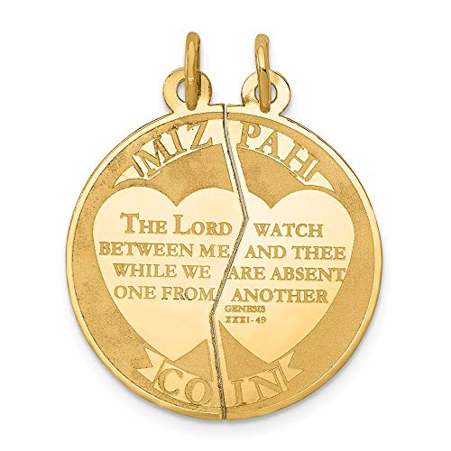 14k Yellow Gold Break Apart Mizpah Coin Emotional Bond Words Charm 29x23mm ()
