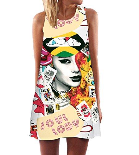365-Shopping Casual da Donna Estate Stampa Slim Senza Maniche Canotte Spiaggia Mini Vestito Giallo