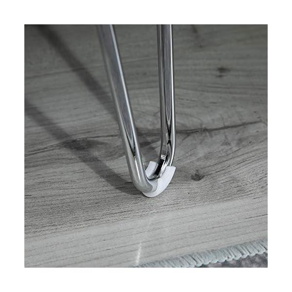 Homcom Banc Banquette Design Contemporain Pieds épingles métal chromé revêtement Lin Gris