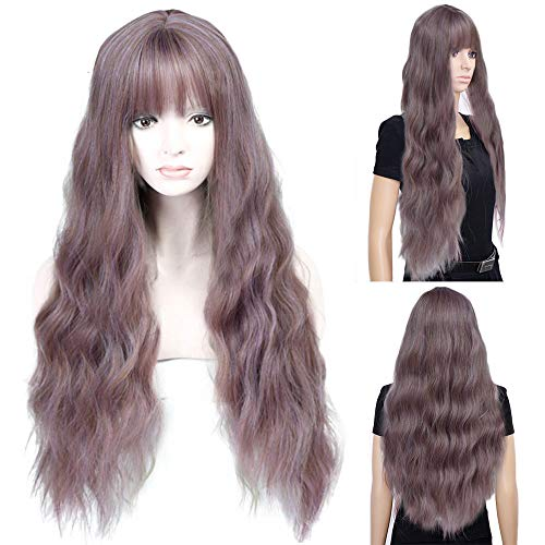 (SOOTOP Long Curly Mix Purple Women Wigs Wave Heat Resistant Synthetic Kinky Curly Wigs Real Natural for Women Soft & Smooth,Comfortable & Adjustable Cosplay Daily Party)