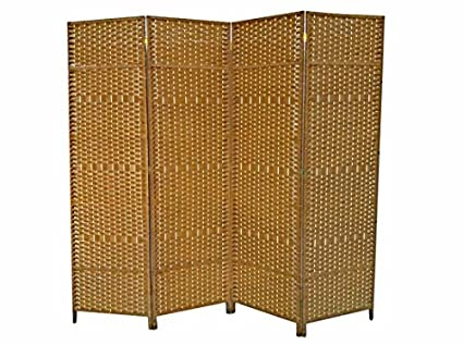 Urnporium Woven 4 Panel Room Divider With Solid Wood Frame Oriental Partition Screen Tan