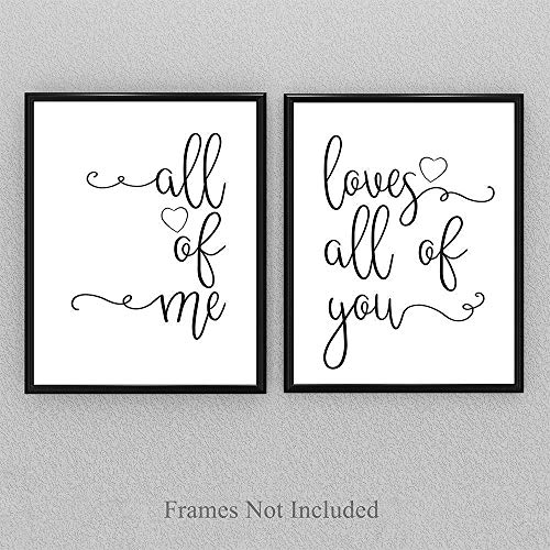 (All Of Me Loves All Of You - Set of 2-11x14 Unframed Typography Art Prints - Great Home Decor and Wedding Gift Under $25)