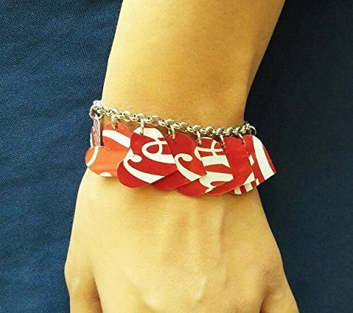 Coca Cola can heart bracelet - FREE SHIPPING - upcycled style eco friendly design vegan recycled reclaimed unique bracelets gift gifts charm jewelry coke coca cola handmade up cycled bracelets (Coca Cola Recycle)