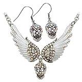 Hiddlston Guardian Angel Wing Skull Candy Choker Necklace Dangle Long Earrings Women Biker Jewelry Set for Women Teen Girls 18''+2'' (SilverAB wIith Earrings)