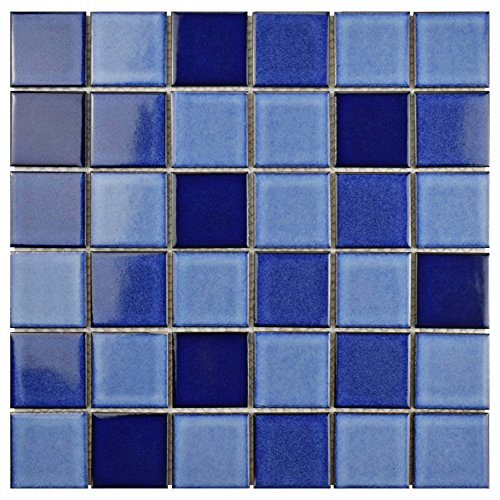 - SomerTile FYFO2SMR Ocean Square Marine Porcelain Floor and Wall Tile, 11.875