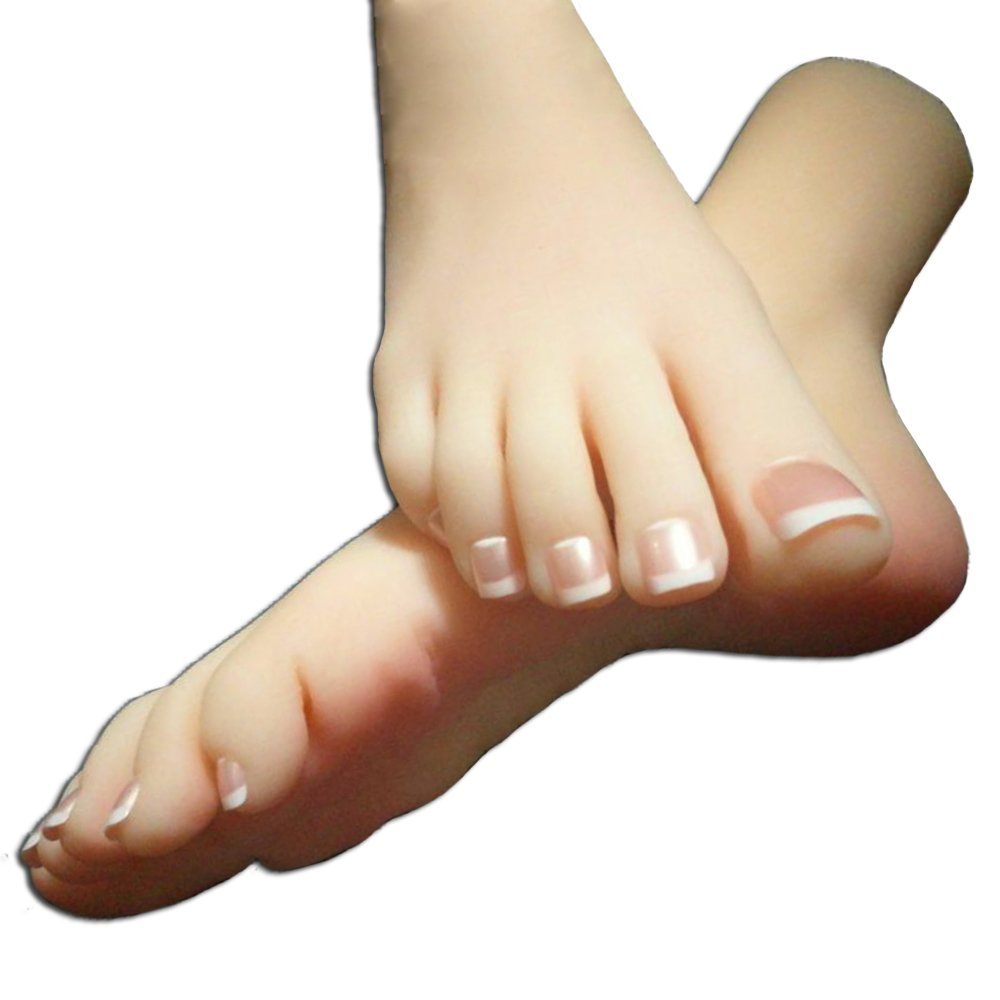 ZHONGJIUYUAN 1 Pair Simulation Lifisize 1:1 Silicone Female Feet Model Left/&Right Photo Shoes Model Display Art Sketch