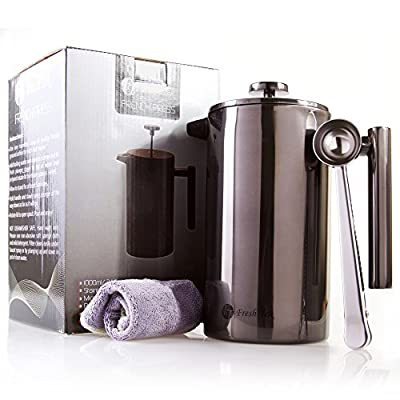 Stainless-Steel-French-Press-Coffee-Maker-Insulated-Double-Wall-Makes-8-Cups-No-Plastic-or-Glass-34oz-Plus-Bonus-Scoop-Best-Portable-Travel-Tea-Pot-Metal-Plunger-Cafetiere-3-Colors