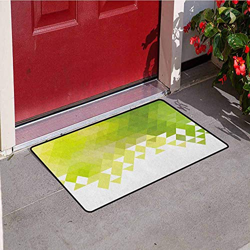 (GloriaJohnson Green Front Door mat Carpet Triangular Abstract Pattern Design Geometrical Mosaic Poly Effect Machine Washable Door mat W15.7 x L23.6 Inch Yellow Green Lime Green White)