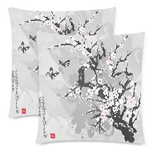 Cherry Blossom Pillows (InterestPrint Custom 2 Pack Spring Sakura Cherry Blossom Throw Pillow Case Covers 18x18 Twin Sides, Japanese Flower Cotton Zippered Cushion Pillowcase Set Decorative)