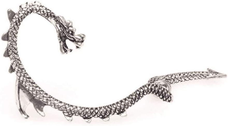 WARMWORD Plateado dragón Serpiente puño cartílago Envolvente Broche Perforado Derecho Oreja Pendientes Nuevo Ear Wrap Brazalete Pendiente Semental Clip en Punk gótico Regalo de Moda
