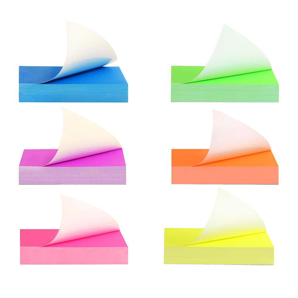 Idocre Sticky Notes 3x3 inches 12 Pads//Pack Neon Multi Color Memo Notepads Waterproof Post It Notes