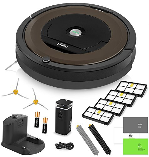 iRobot Roomba 890 Vacuum Cleaning Robot + Dual Mode Virtual Wall Barrier (With Batteries) + 2 Extra Side Brushes + 4 Extra High Efficiency Filters + A Set Of AeroForce Extractors + More