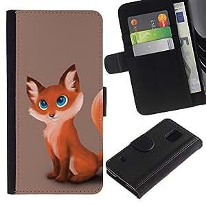 Stuss Case / Funda Carcasa PU de Cuero - Fox lindo Cub - Samsung Galaxy S5 V SM-G900