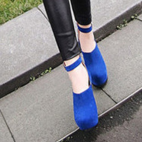VECJUNIA Womens Buckle Suede Platform High-Heeled Shoes Blue 7 WsCKWVlLXb