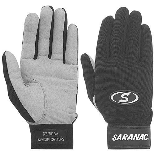 Gray Football Receiver Glove - SARANAC TACKIFIED ADULT FOOTBALL RECEIVER GLOVES GREY LARGE