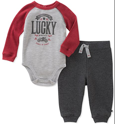 Lucky Brand Baby Boys' Thermal Body Suit Pant Set, Red Merlot/Grey Heather/Charcoal, 6-9 Months