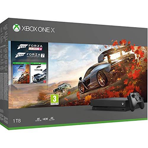 Xbox One X 4K HDR Enhanced Forza Horizon 4 Bonus Bundle: Forza Horizon 4, Forza Motorsport 7, Xbox One X 1TB Console – Black