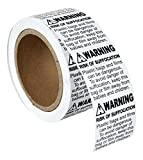 60 Rolls ; 500 Labels per Roll, 2''x2'' WARNING RISK OF SUFFOCATION FBA Approved Pre-Printed Labels/Stickers (2'' x 2'') -- BPA Free!