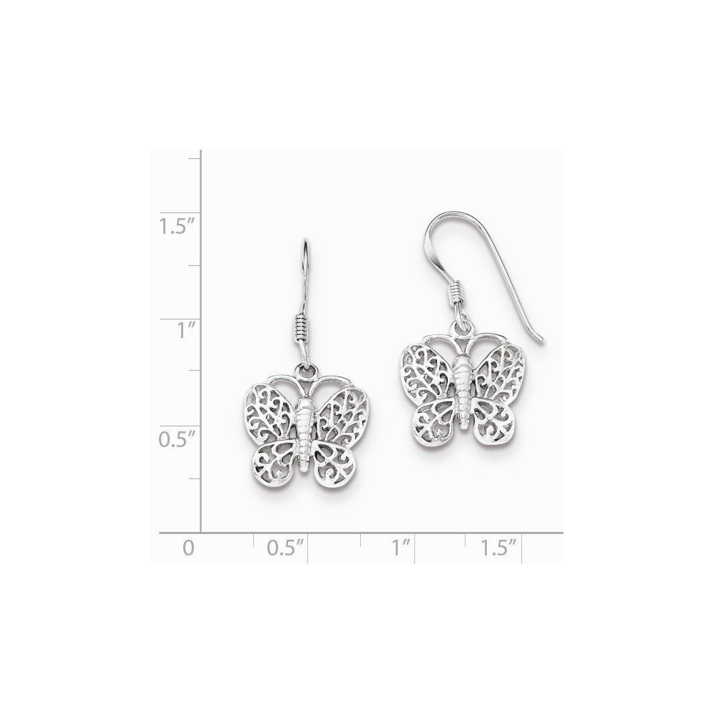 925 Sterling Silver Rhodium-plated Butterfly Polished Earrings