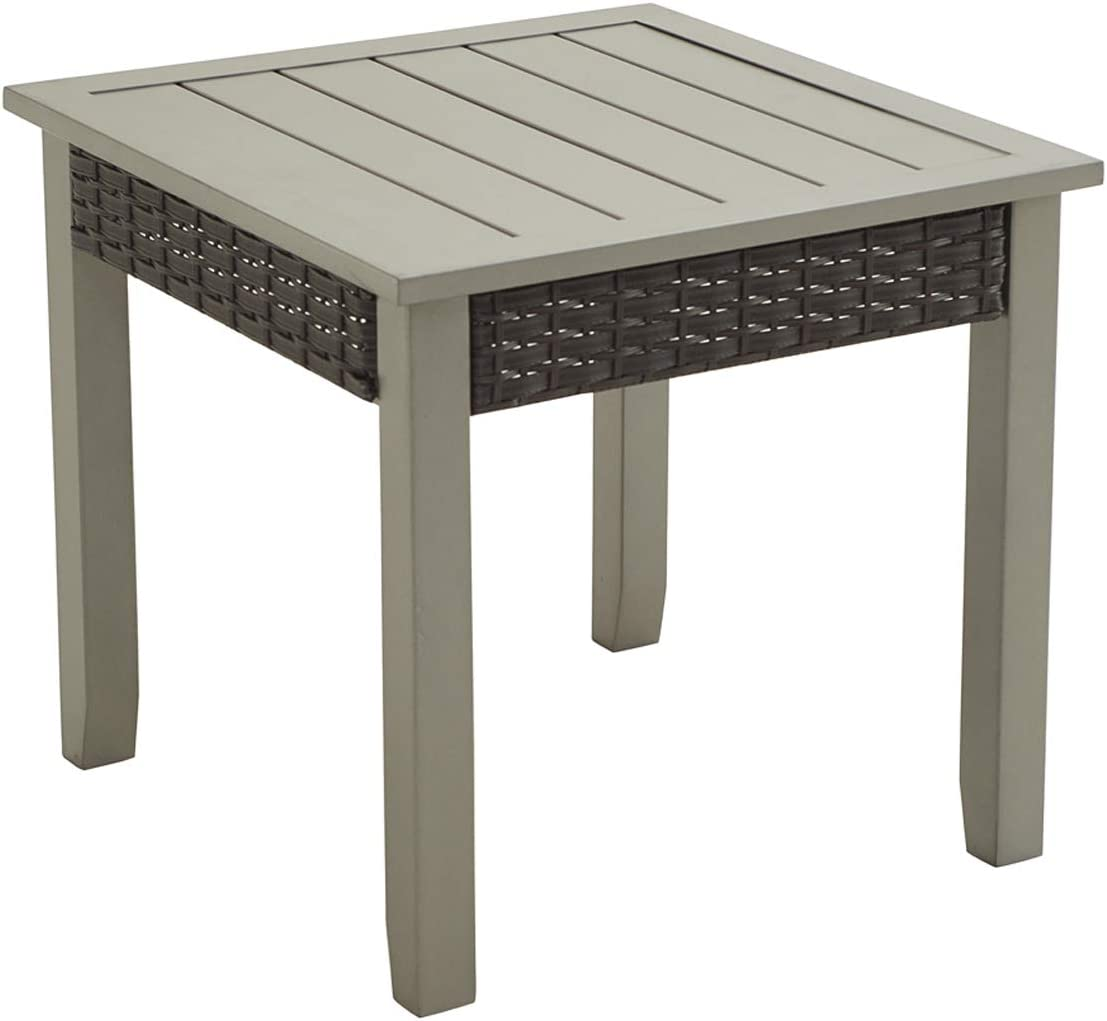 LOKATSE HOME 22.5 Metal Outdoor Side End Table for Patio Dining Square, Gray