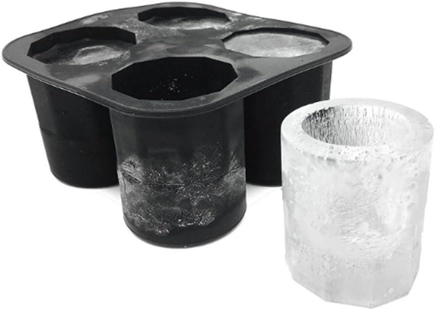 HONGGANG 4 Forma de Taza Silicona Cubitos de Hielo Molde Tiradores Vaso de Vidrio Molde de Hielo Bandeja de Cubitos de Hielo Bar de Verano Fiesta Cerveza Hielo Accesorios para Herramientas de Bebida