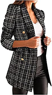 Womens Plaid Blazers Jacket Autumn Long Sleeve Double Breasted Plaid Blazers Tops Open Front Outwear Coat