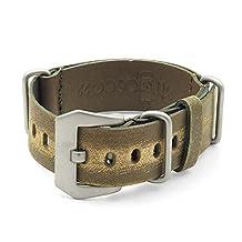 StrapsCo 24mm Green Ultra Distressed Leather G10 Nato Zulu Watch Strap w/ Pre-V Buckle