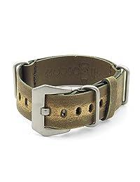 StrapsCo 26mm Green Ultra Distressed Leather G10 Nato Zulu Watch Strap w/ Pre-V Buckle