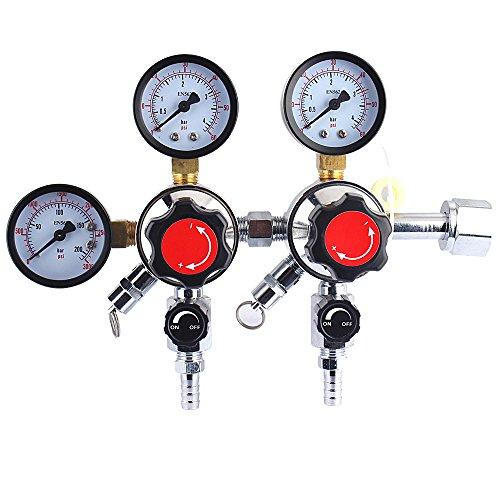 Regulator Dual Outlet - Dual Gauge CO2 Beer Regulator - Homebrew Kegerator Draft Beer Dispensing-Unit with CGA-320 inlet,3/8''outlet 0-60 PSI Working Pressure, 0-3000 PSI Tank Pressure with Safety Pressure Relief Valve