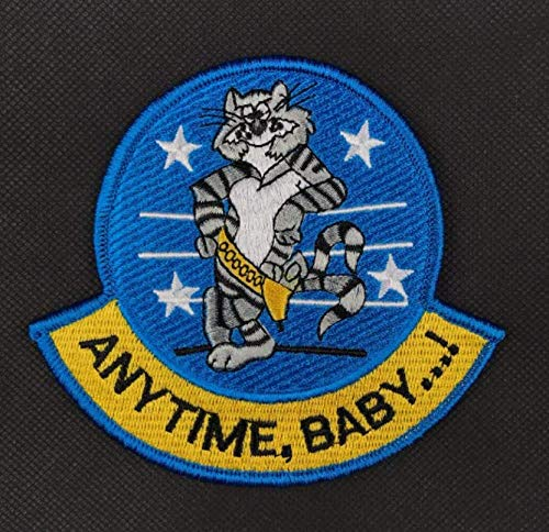 Anytime, Baby! F-14 Tomcat Fighter Aircraft Mint Military Patch Fabric Embroidered Badges Patch Tactical Stickers for Clothes with Hook & Loop ()