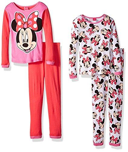Disney Big Girls' Minnie Mouse 4-Piece Pajama Set, Red/White, 10