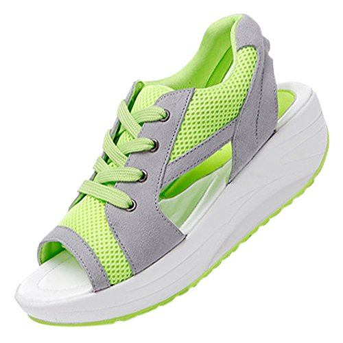 SODIAL Summer new fish head sandals Women shoes slope with platform muffin Green US5.5=EUR37=feet length 23.5CM