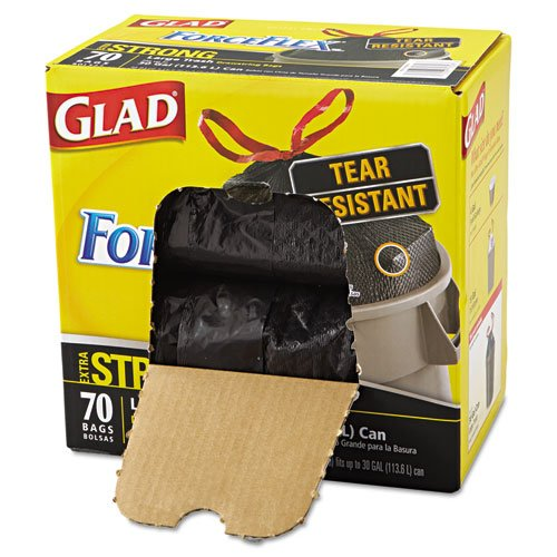 Glad Drawstring ForceFlex Large Trash Bags, 30 x 32, 30gal, 1.05mil, Black, 70/Carton