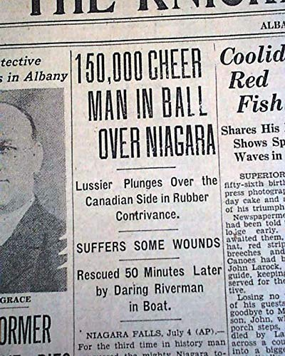JEAN LUSSIER Daredevil Over Niagara Horseshoe Falls RUBBER BALL 1928 Newspaper THE KNICKERBOCKER PRESS, Albany, July 5, 1928 ()
