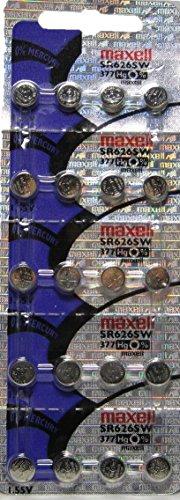 20 Maxell 377 SR626SW AG4 Batteries, New hologram packaging