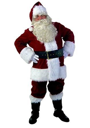 ZKOO Trajes de Papá Noel 10 Piezas Disfraces de Navidad Conjunto para Adulto Navideños Cosplay Ropa Rojo para la Altura 175-190cm