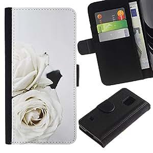 A-type (Roses Art Wedding Theme Flowers) Colorida Impresión Funda Cuero Monedero Caja Bolsa Cubierta Caja Piel Card Slots Para Samsung Galaxy S5 V SM-G900